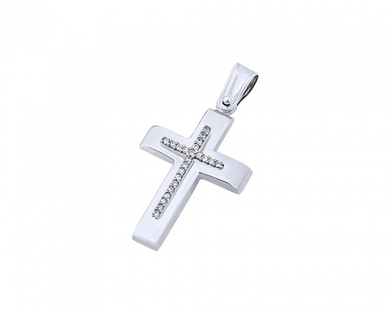 "Image of ""White gold women's cross Κ9, T04019"""
