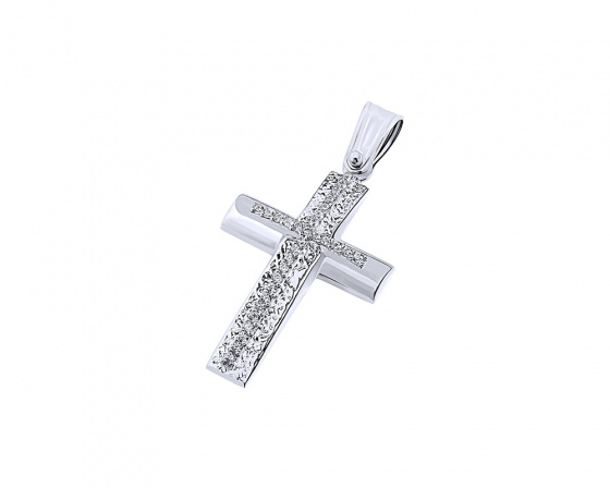 "Image of ""White gold women's cross Κ9, T04119"""