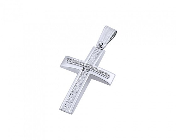 "Image of ""White gold women's cross Κ9, T04219"""