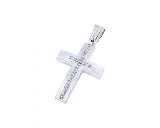 "Image of ""White gold women's cross Κ9, T04419"""