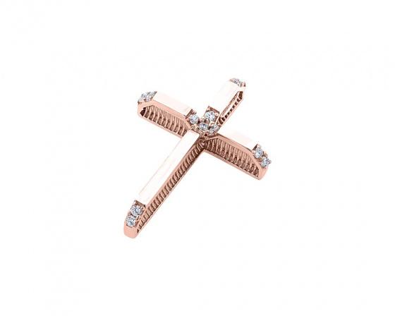 """Εικόνα του """"Ροζ χρυσός γυναικείος σταυρός Κ14, T01219"""""""