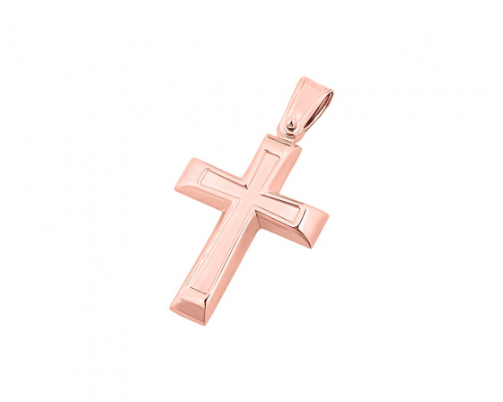 """Εικόνα του """"Ροζ χρυσός ανδρικός σταυρός Κ14, T02719"""""""
