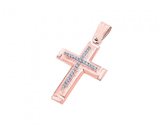 """Εικόνα του """"Ροζ χρυσός γυναικείος σταυρός Κ14, T03919"""""""