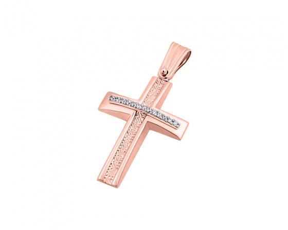 """Εικόνα του """"Ροζ χρυσός γυναικείος σταυρός Κ14, T04219"""""""