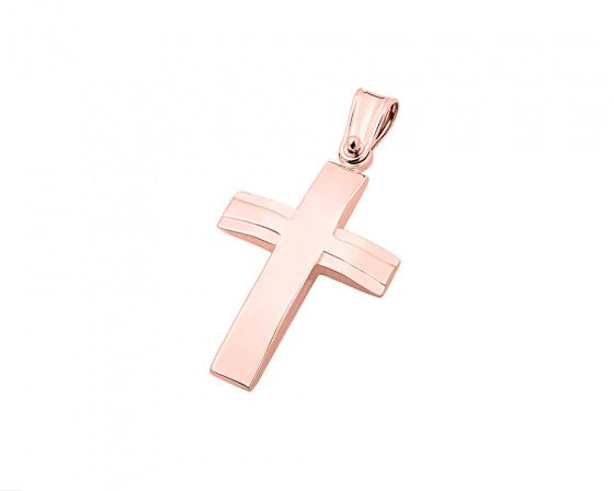 """Εικόνα του """"Ροζ χρυσός ανδρικός σταυρός Κ14, T02219"""""""