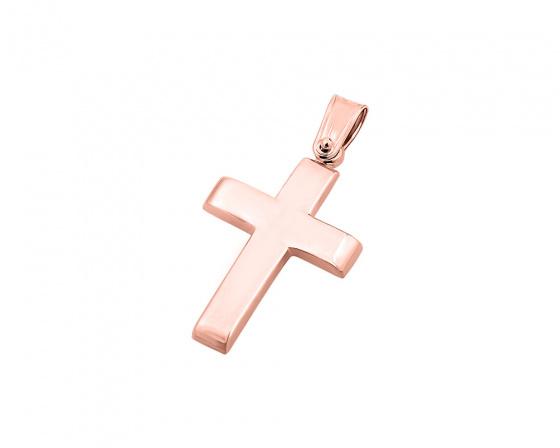 """Εικόνα του """"Ροζ χρυσός ανδρικός σταυρός Κ9, T00819"""""""