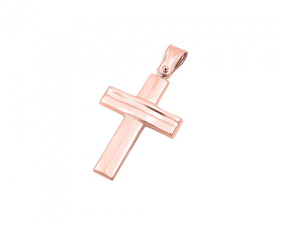"""Εικόνα του """"Ροζ χρυσός ανδρικός σταυρός Κ9, T03219"""""""