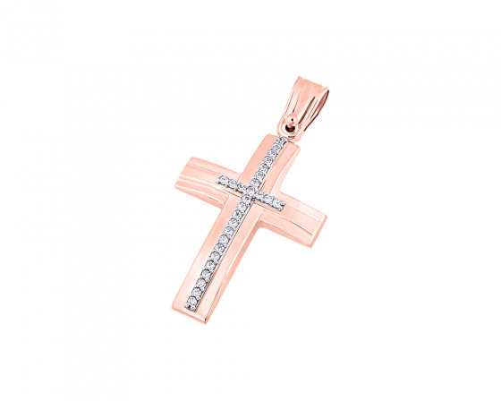 "Image of ""Rose gold women's cross Κ9, T04419"""
