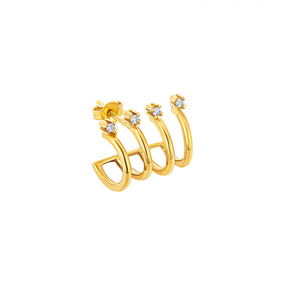 """Image of """"""""Quattro Glam"""" silver hoop earring gold plated"""""""