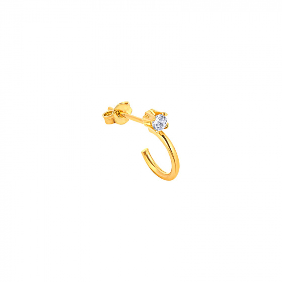 """Image of """"""""Single Glam"""" silver hoop earring gold plated"""""""