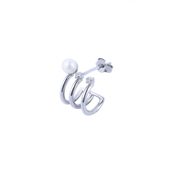 """Image of """"""""Triple Story"""" white gold K14 hoop earring"""""""