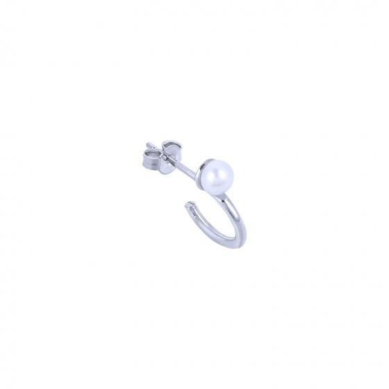 """Image of """"""""Single Story"""" white gold K14 hoop earring"""""""