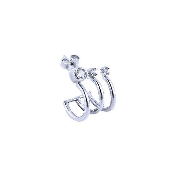 """Image of """"""""Triple Shine"""" white gold K14 hoop earring"""""""
