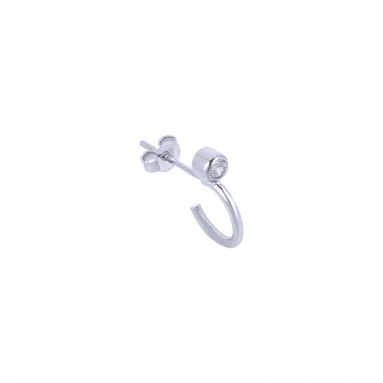"""Image of """"""""Single Shine"""" white gold K14 hoop earring"""""""