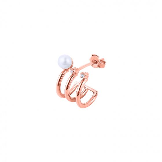 """Image of """"""""Triple Story"""" rose gold K14 hoop earring"""""""