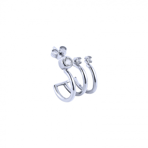 """Image of """"""""Triple Shine"""" white gold K9 hoop earring"""""""