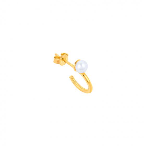 "Image of """"Single Story"" gold K14 hoop earring"""