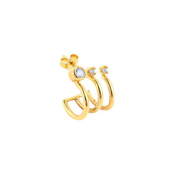 "Image of """"Triple Shine"" gold K14 hoop earring"""