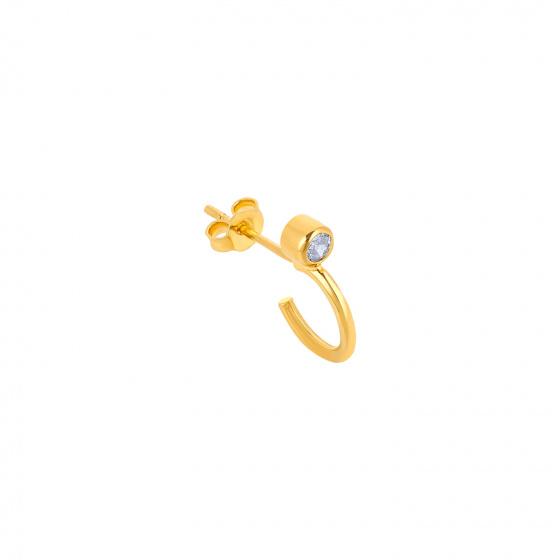 "Image of """"Single Shine"" gold K14 hoop earring"""