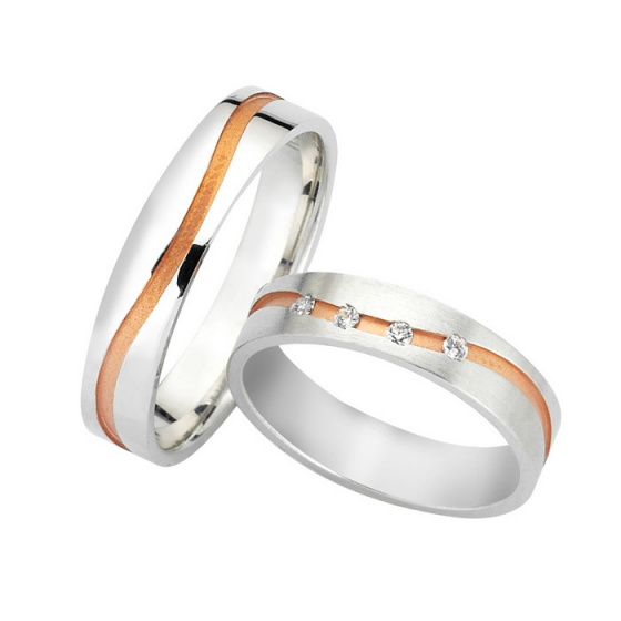 "Image of ""Wedding rings two coloured, rose and white gold K14, F3398"""