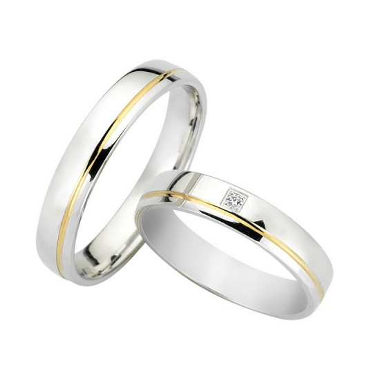 "Image of ""Wedding rings two coloured, yellow and white gold K14, F3729"""