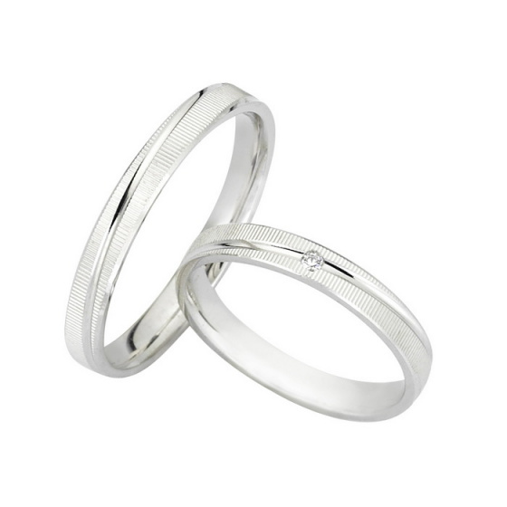 "Image of ""White K14 gold wedding rings, G3717"""