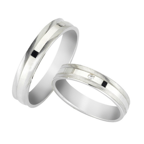 "Image of ""White K14 gold wedding rings, G3723"""