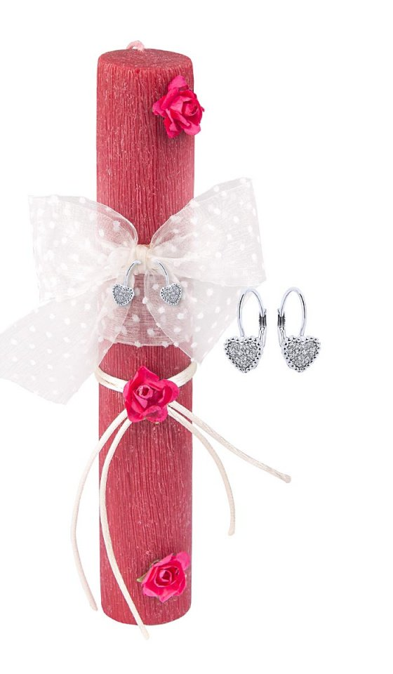 """Image of """"""""Vintage Red"""" handmade Easter candle with earrings """"Cutie White Hearts #1"""" """""""
