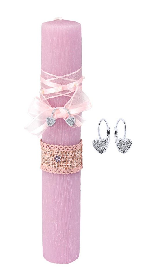 """Image of """"""""Vintage Lilac"""" handmade Easter candle with earrings """"Cutie White Hearts #1"""""""""""