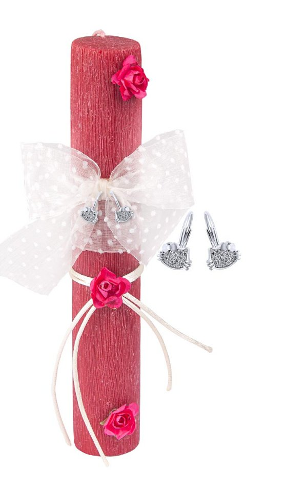 """Image of """"""""Vintage Red"""" handmade Easter candle with earrings """"Cutie White Kitties"""""""""""