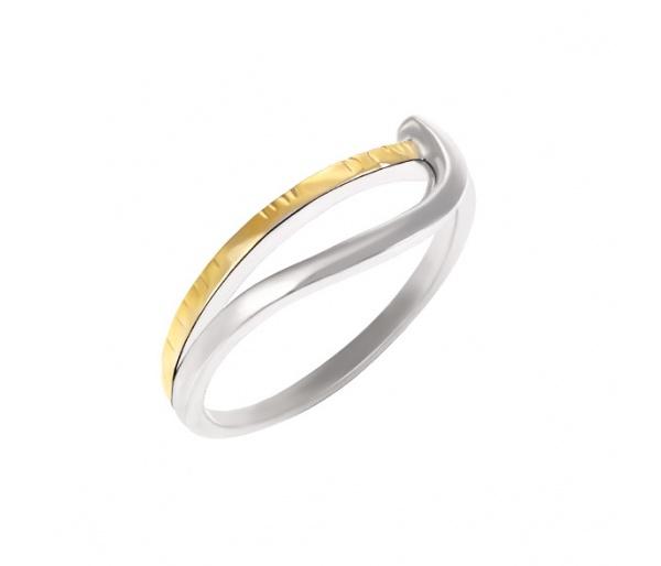 Ασημένιο δαχτυλίδι 925 με επίχρυσες λεπτομέρειες