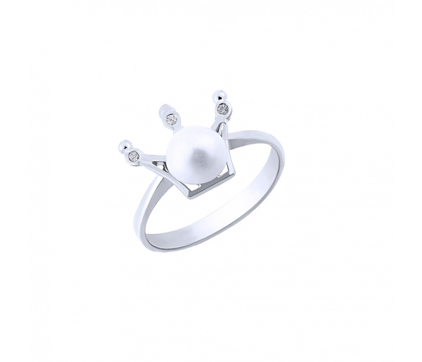 """""""Pearly Crown"""" silver ring"""
