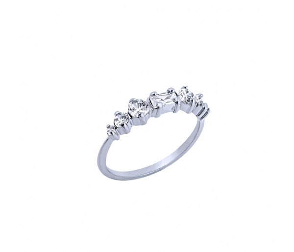 """""""Crystallized"""" silver ring"""