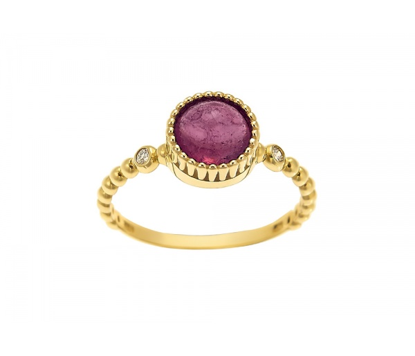 """Tourmaline Crown"" gold ring K14"