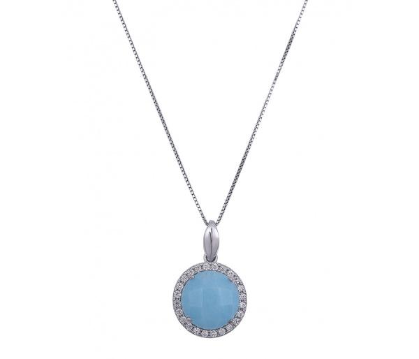 """Round Baby Blue"" pendant"