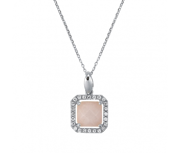 """Square Pink Jade #2"" pendant"