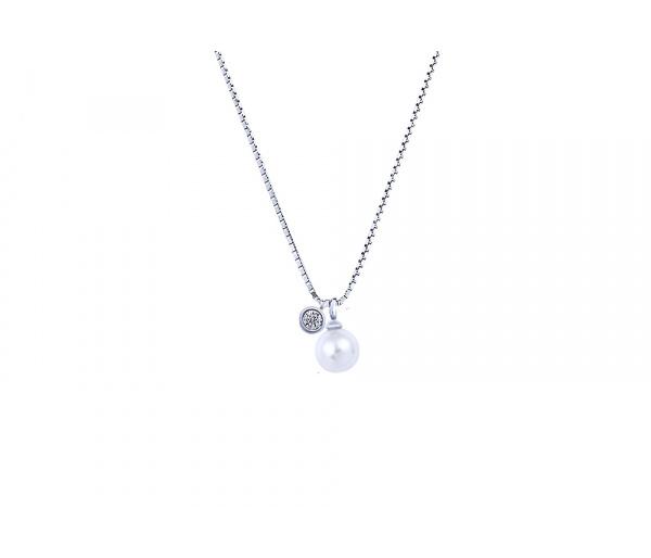 """Fancy Pearl"" silver necklace"