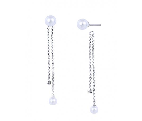 """Ασημένια σκουλαρίκια earjackets """"Extravagant"""""""