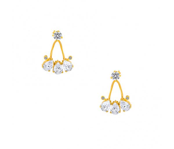 """""""Poires"""" silver earjacket earrings"""