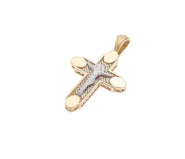 Λευκόχρυσος ανδρικός σταυρός Κ14, H333