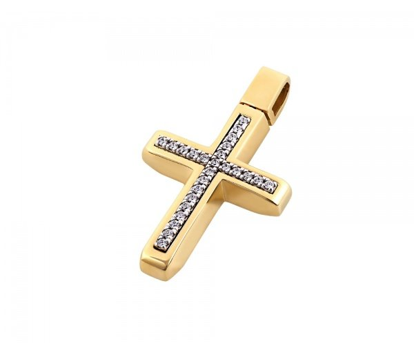 Gold women's cross Κ14, T00418