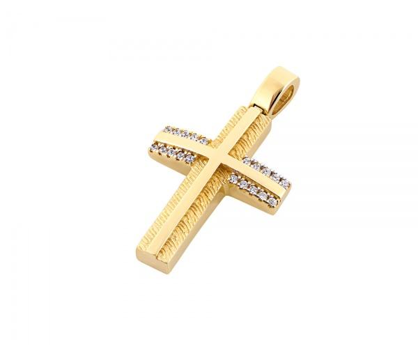 Gold women's cross Κ14, T00818