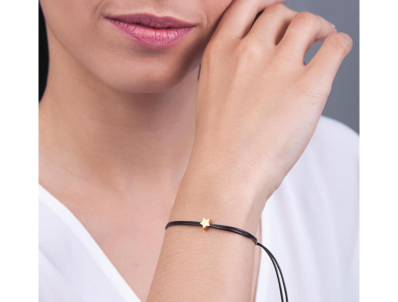 "Image of """"Black Festive Star"" silver bracelet rose gold plated"""