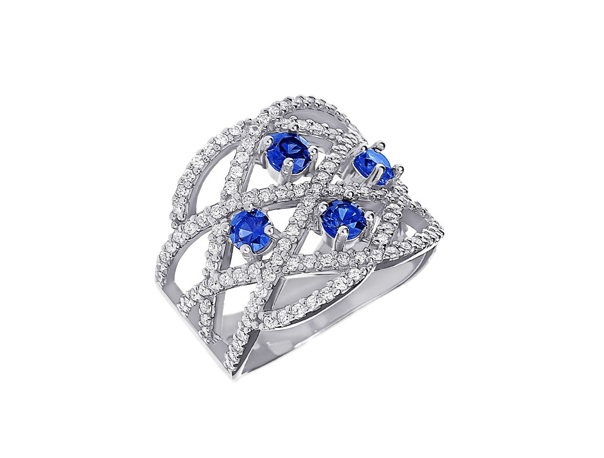 """Image of """"""""Blue Oriental v2"""" silver ring"""""""
