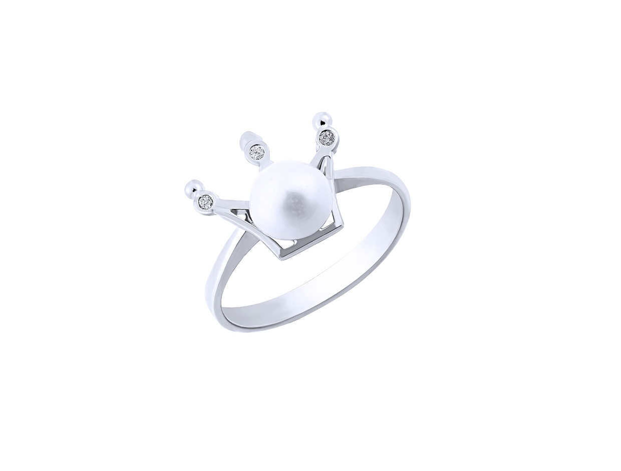 "Image of """"Pearly Crown"" silver ring"""