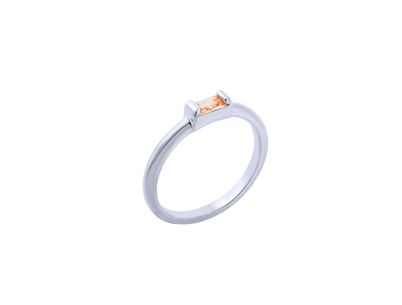 "Image of """"Exquisite Orange Baguette"" silver ring"""