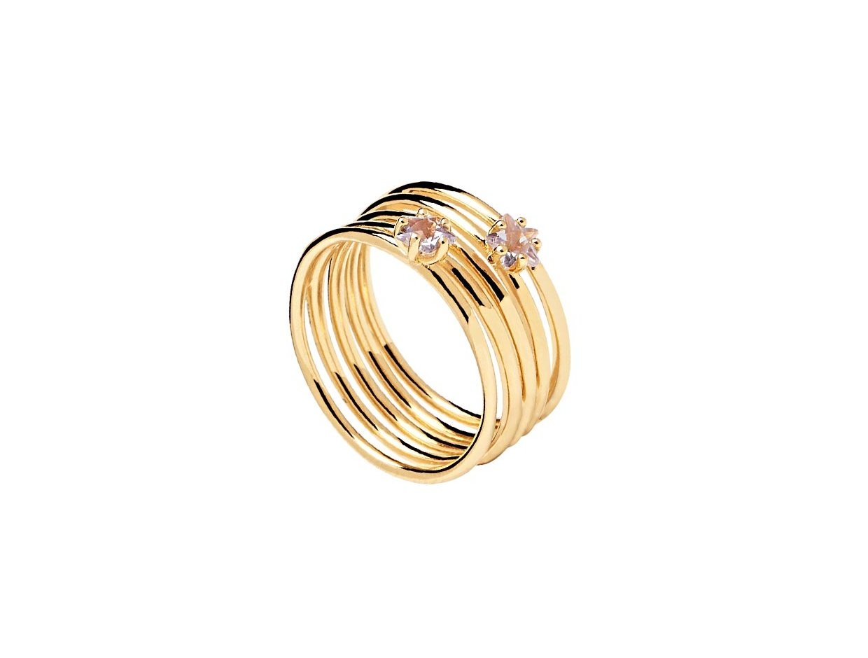 "Image of ""PDPAOLA ""Orion"" silver ring gold plated"""