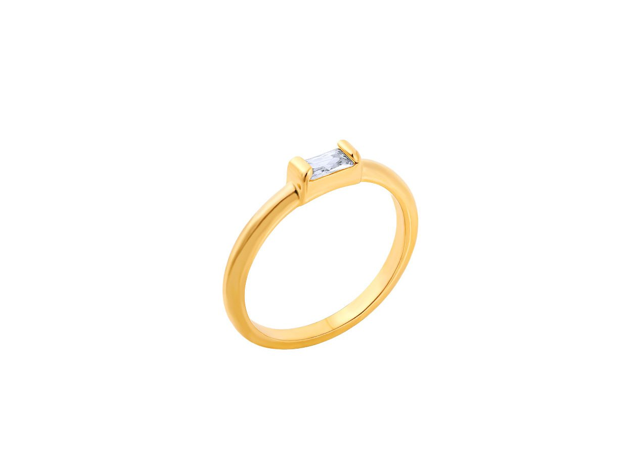 """Image of """"""""Exquisite White Baguette"""" silver ring gold plated"""""""