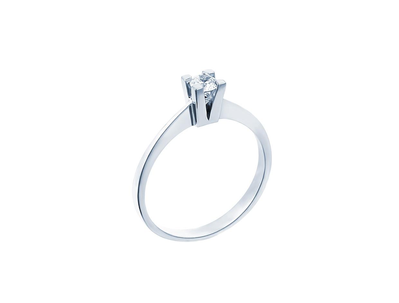 "Image of """"Eternity Premium 037"" white gold engagement ring K18 with VS1 diamond"""