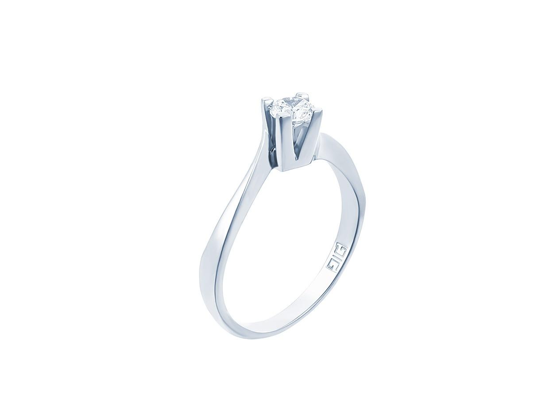 "Image of """"Eternity Premium 018"" white gold engagement ring K18 with VS1 diamond"""